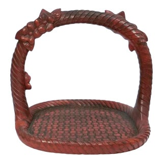 Antique Lacquered Handled Basket For Sale