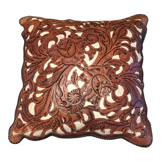Hand Tooled Die Cut Leather Pillow