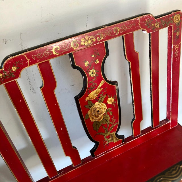 Early 20th Century Early 20th Century French Chinoiserie Red Gold Lacquer Magazine Stand For Sale - Image 5 of 13