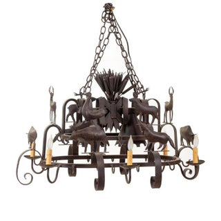 Custom Made Iron Mexican Chandelier/Cookware Rack For Sale