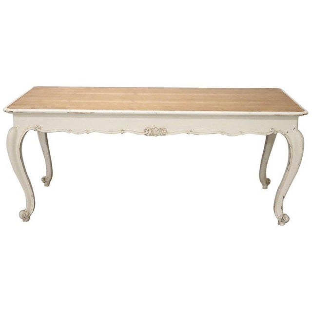 20th Century French Country Provencal Louis XV Style Painted Dining Room Table For Sale - Image 10 of 10