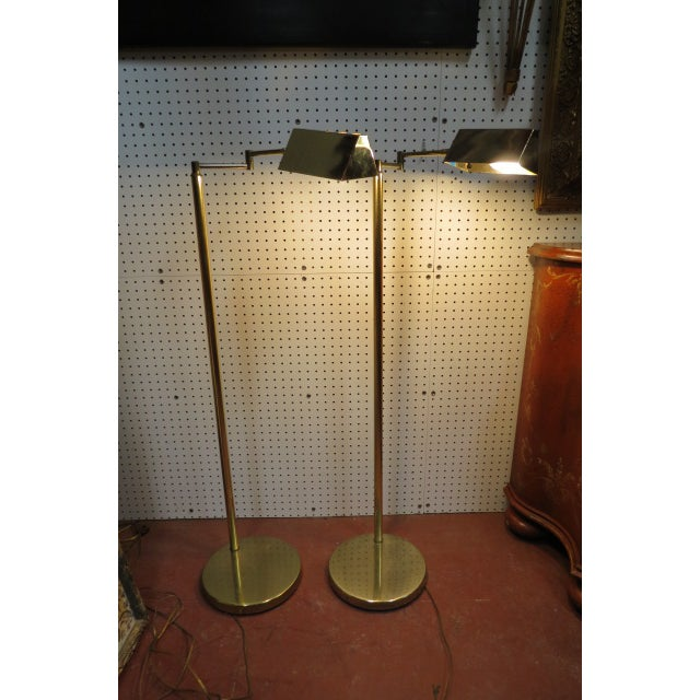 Vintage Mid Century Modern Koch and Lowy Brass Swim Arm Floor Lamps, C. 1970 - a Pair For Sale In Chicago - Image 6 of 7