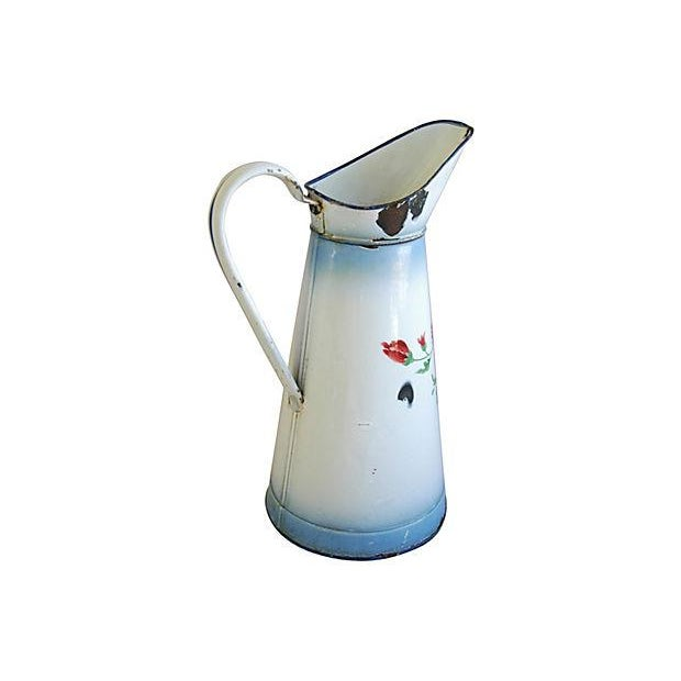1920s Vintage French Hand-Painted Enameled Pitcher - Image 4 of 7