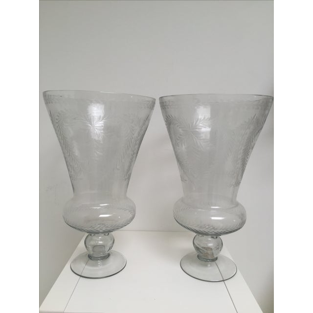 Glass Heart-Motif Hurricane Vases - A Pair - Image 2 of 3