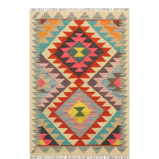 Tribal Turkish Kilim Cinthia Rust/Beige Hand-Woven Vintage Rug - 1'11 X 3'0 For Sale