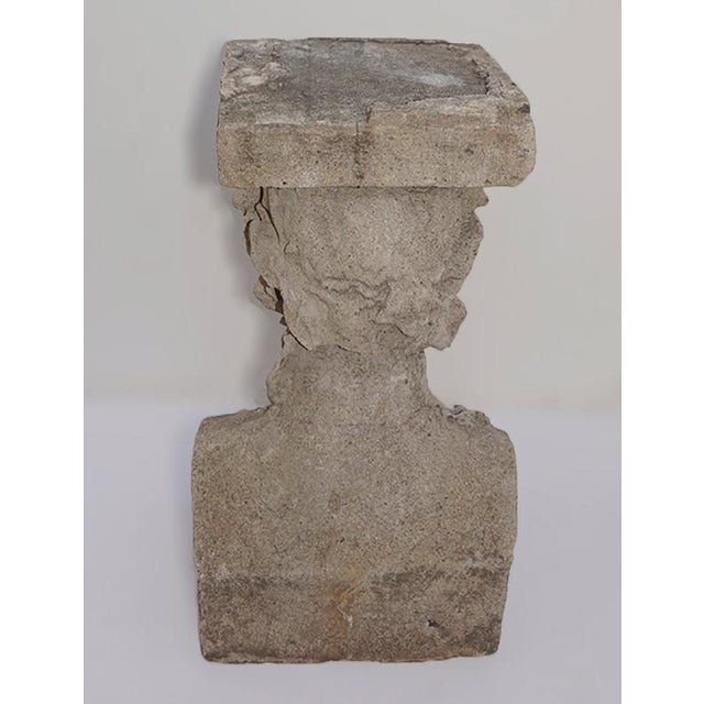 Gray Late 19th Century Cast Stone Pedestals With Figural Bust and Foliate Design - a Pair For Sale - Image 8 of 11