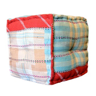 Plaid Printed Bengal Kantha Cube For Sale