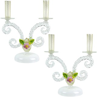 Murano White Filigrana Gold Leaf Flowers Italian Art Glass Candlestick, Pair For Sale
