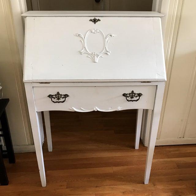 Distressed White Secretary Desk - Image 2 of 10