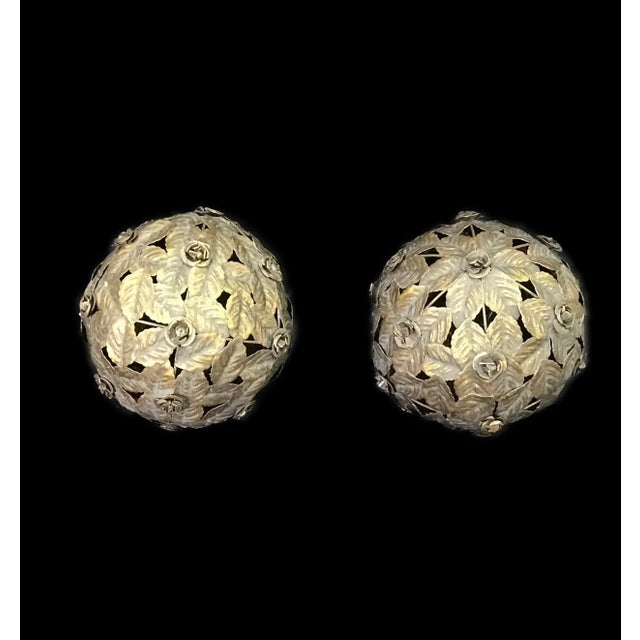 Italian tole leaf balls. Decorative balls of antique silvered leaves. One on a table is simple and stunning or mass...