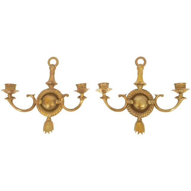 Brass Two Arm Sconces- Pair - Image 1 of 9