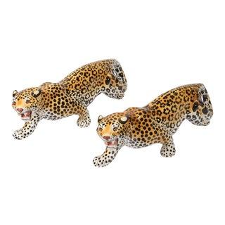 Vintage Ceramic Leopard Sculptures For Sale