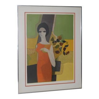 "Andre Minaux (French, 1923-1986) ""Grande Dame"" Color Lithograph C.1960s For Sale"