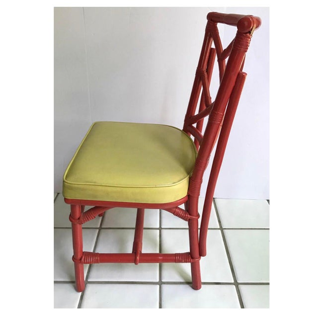 Asian Mid-Century Modern Chinese Chippendale Dia Bamboo Red Side Chairs - Set of 4 For Sale - Image 3 of 7