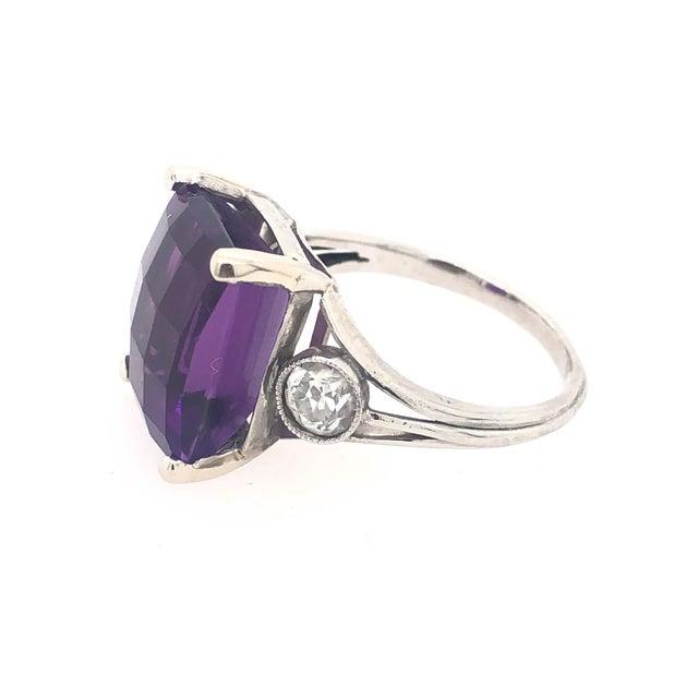 Vintage Platinum Diamond & Fantasy Cut Amethyst Ring For Sale - Image 4 of 5