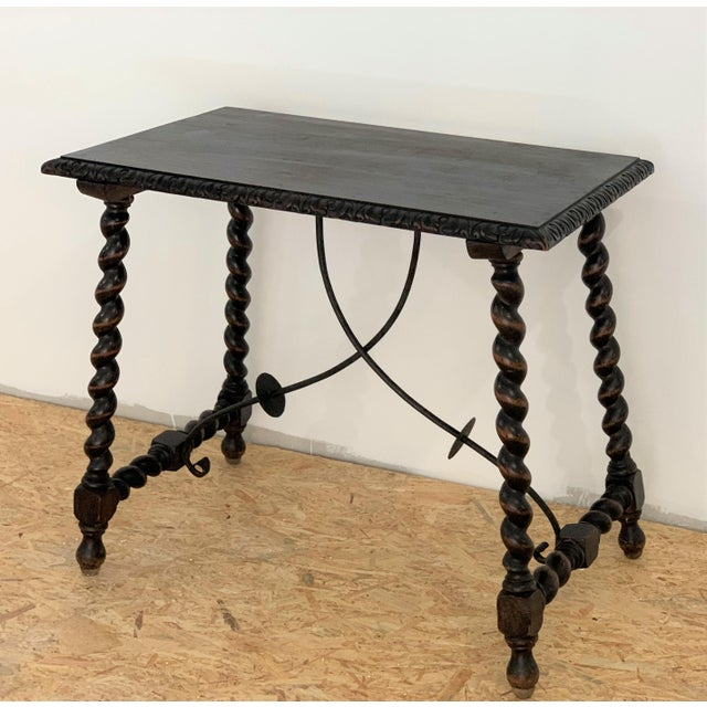19th Century Salomonic Baroque Side Table With Carved Top and Iron Stretchers For Sale - Image 4 of 11