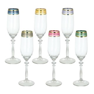 Colorful Italian Champagne Flutes - Set of 6 For Sale