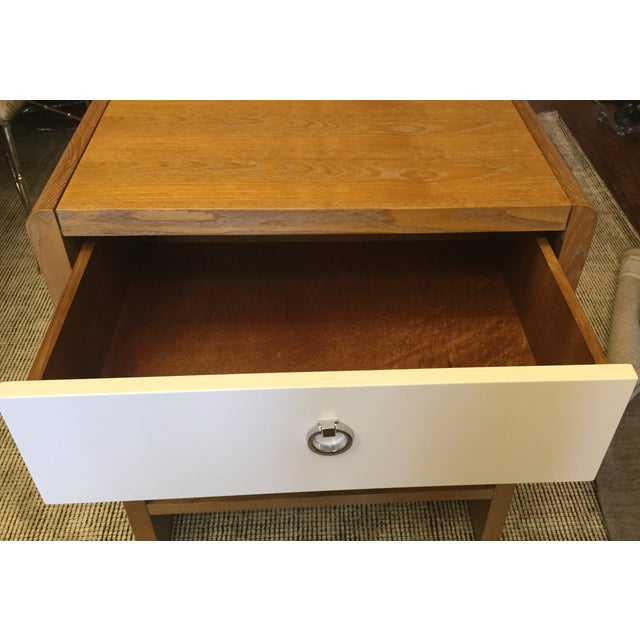 Limed Oak & White Lacquer Nightstand For Sale In San Francisco - Image 6 of 7