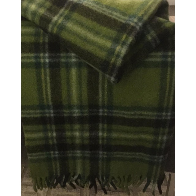 Cabin Mid-Century Modern Wool Plaid Throw For Sale - Image 3 of 5