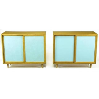 Pair Harvey Probber Tiffany Blue Leather-Front Cabinets Preview