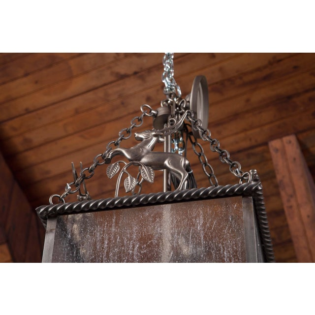 Metal Custom-Made Leaping Stag Lantern For Sale - Image 7 of 8