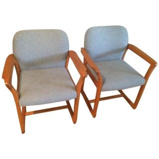Danish Modern Teak & Tweed Chairs- A Pair For Sale