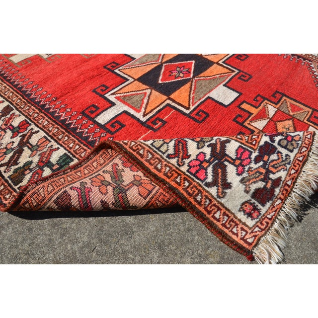 """Tribal Vintage Hand Knotted Persian Kazak Area Rug - 3' 11"""" X 7' 6"""" For Sale - Image 3 of 10"""