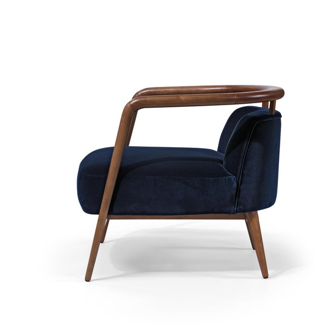 Mid-Century Modern Contemporary Mid Century Style Scandinavian Modern Walnut Lounge Chair For Sale - Image 3 of 6