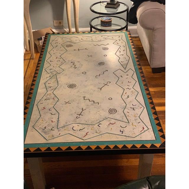 Tribal Richard Kooyman Wood Carved Hieroglyphic Multicolored Coffee Table For Sale - Image 3 of 9