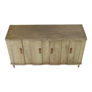Horn Tone Cerused Finished Sideboard Credenza With Folding Double Doors For Sale