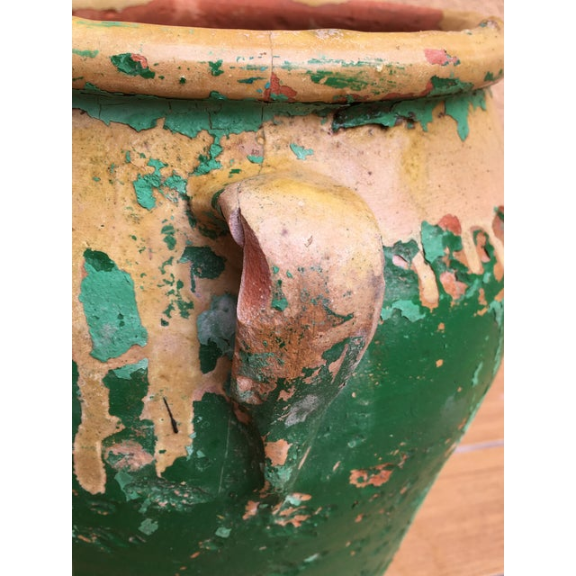 French 19th Century Green-Glazed Castelnaudary Pot or Planter With Handles For Sale - Image 4 of 8