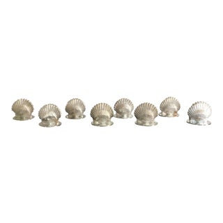 S/8 Silver Shell Place Card Holders by Leonore Doskow For Sale