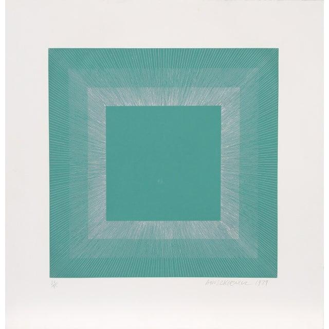 "Modern Richard Anuszkiewicz, ""Winter Suite"" (Green & Silver), Op Art Etching For Sale - Image 3 of 3"