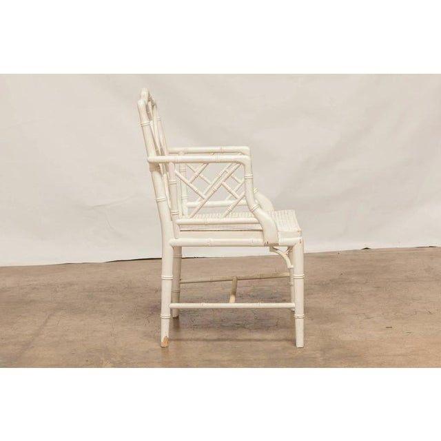 Chinese Chippendale Faux Bamboo Armchairs - Pair - Image 3 of 8