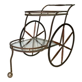 1950s Bronze and Glass Bar Cart With Wooden Spoked Wheels For Sale