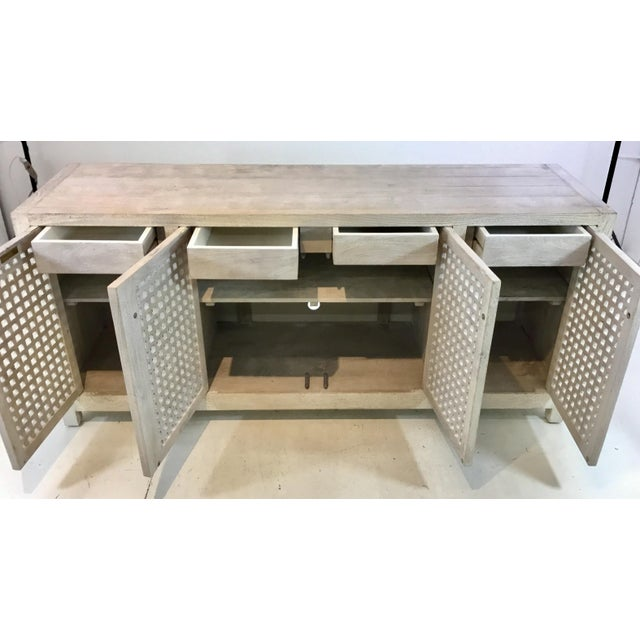 2010s Studio a Modern White Washed Driftwood Lattice Credenza For Sale - Image 5 of 6