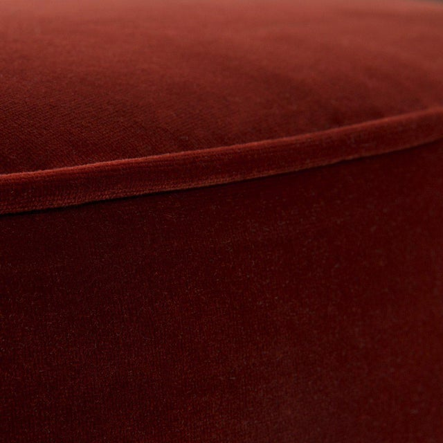Contemporary Chubby Ottoman in Merlot Velvet For Sale - Image 3 of 4