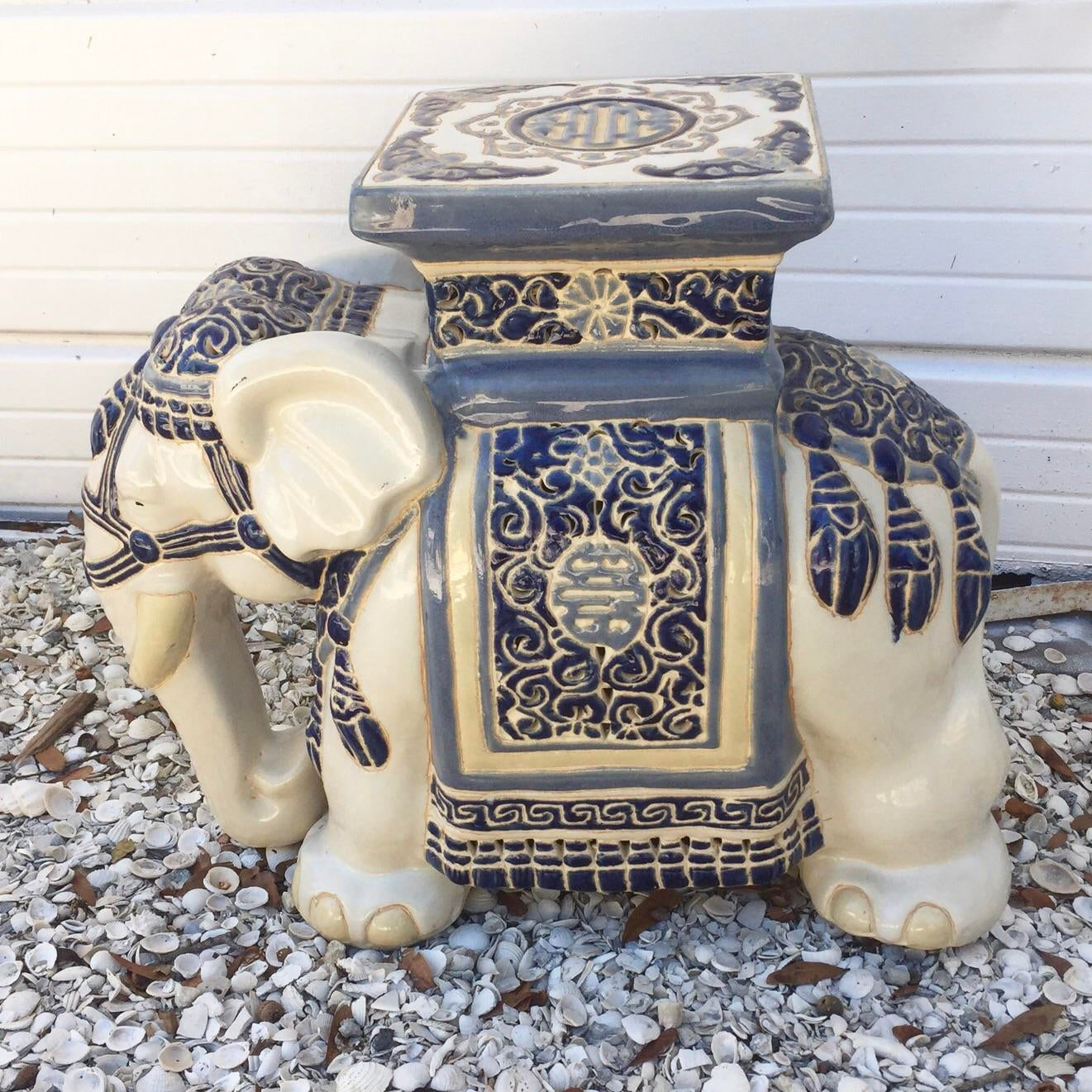 Vintage Chinoiserie Blue And White Elephant Garden Stool   Image 2 Of 7