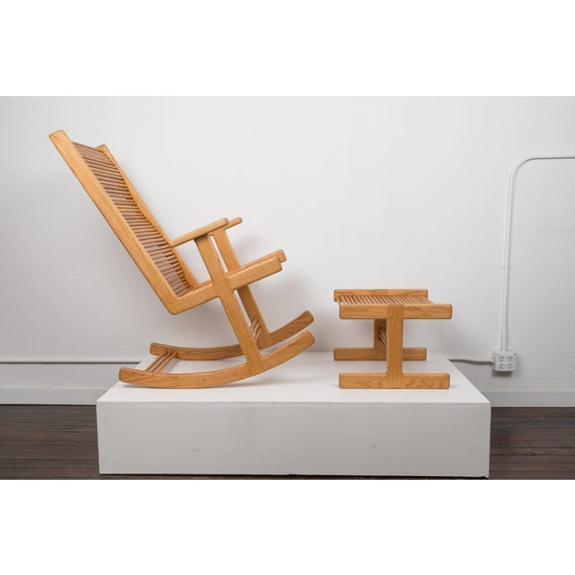 1980s Stephen Hynson Oak Dowel Rocking Chair and Ottoman For Sale - Image 9 of 9