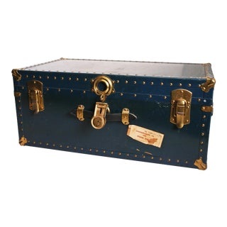 Vintage Navy Blue Military Foot Locker With Tray