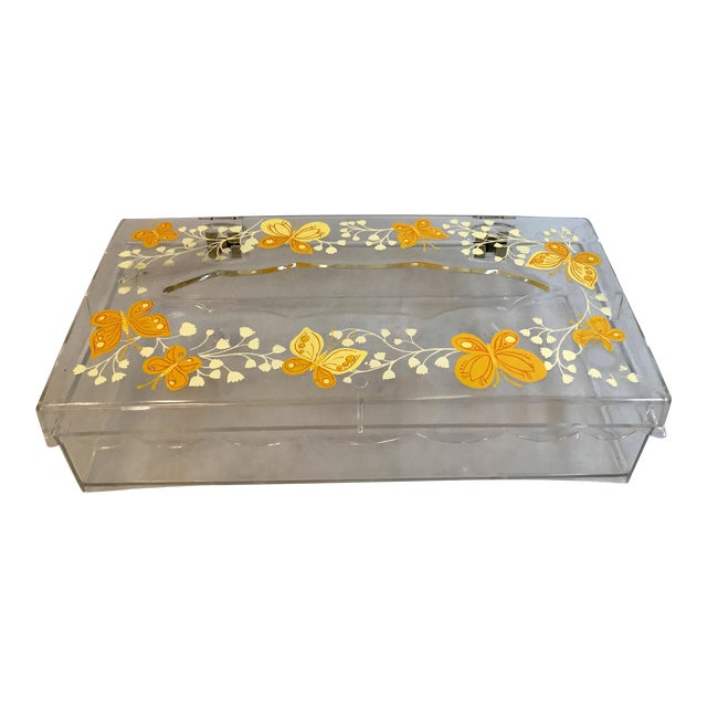 Vintage Lucite Painted Tissue Box Cover For Sale