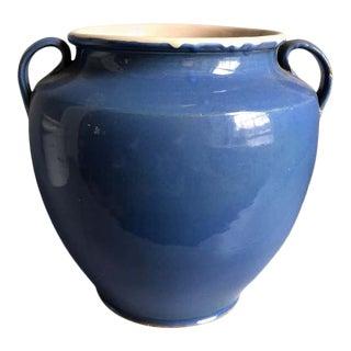 19th Century French Faience Blue Glaze Confit Pot For Sale