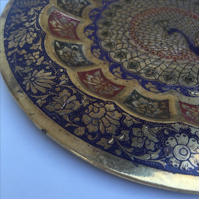 Vintage Indian Peacock Plate Tray For Sale - Image 5 of 7