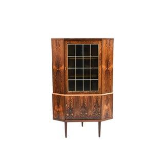 1960's Mid-Century Danish Modern Rosewood Corner Cabinet For Sale