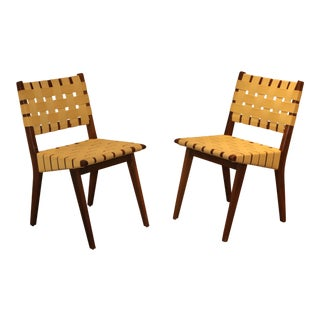 Mid-Century Modern Jens Risom for Knoll Walnut Side Chairs - a Pair For Sale