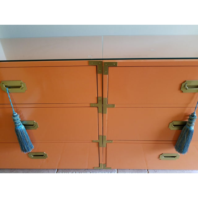 Orange Campaign Style Nightstands - A Pair - Image 7 of 8