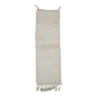 Moroccan Rug Runner White -2′6″ × 7′8″ For Sale