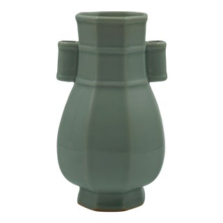 1860 Qing Dynasty Antique Green Celadon Hu Form Arrow Vase For Sale