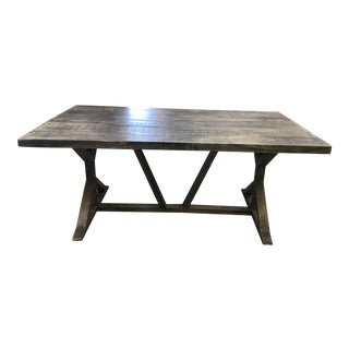 Modern Industrial Wood Plank Table With Trestle Base For Sale