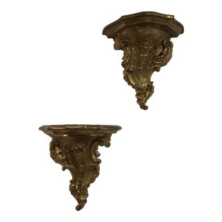 19th Century Rococo Gilt Wall Shelves - a Pair For Sale
